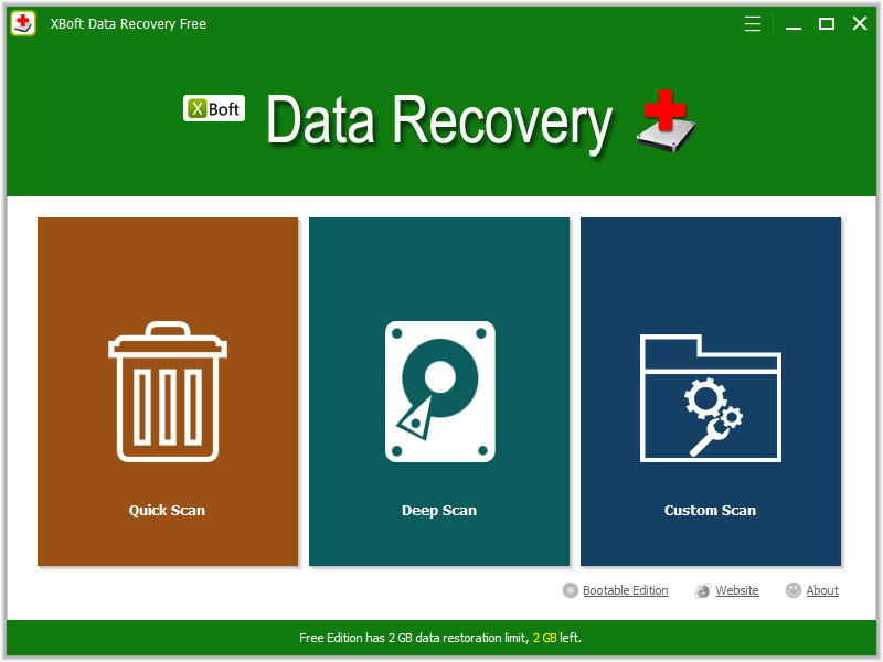 Click to view XBoft Data Recovery Free 2.5 screenshot